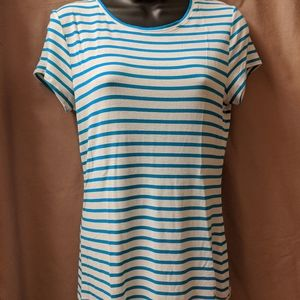 Tahari Striped Tee Shirt sz Medium
